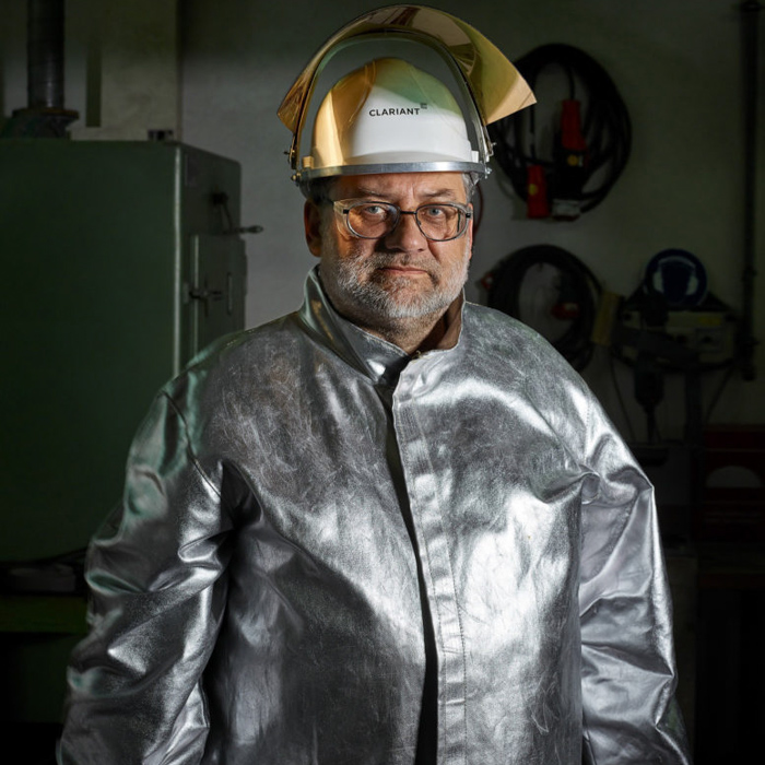 Portraiture by Zurich, Switzerland-based photography duo Scanderbeg Sauer of a Clariant industrial worker.