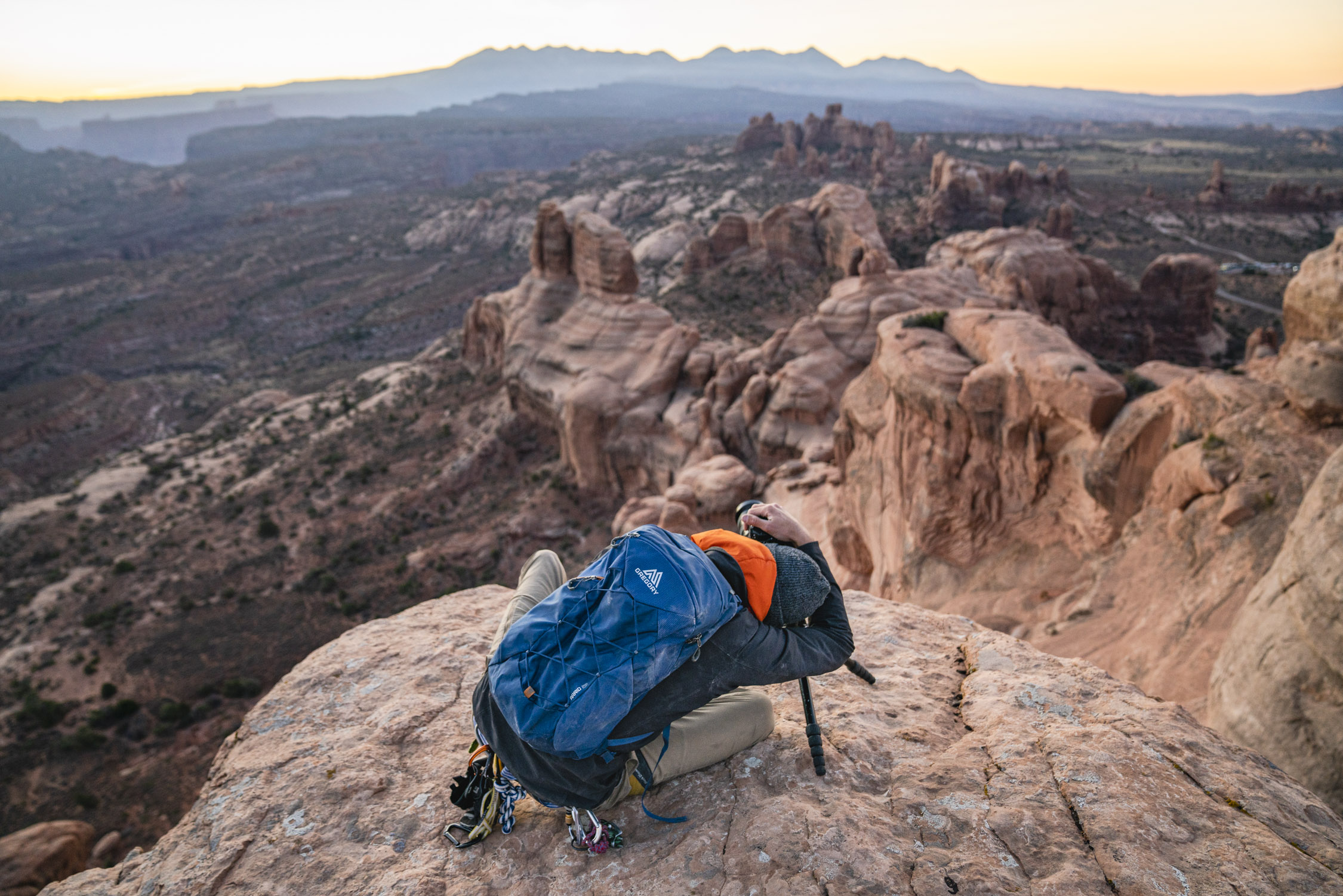 Dalton Johnson photographs expanse of mountains in Moab for Gregory Packs and Coalatree