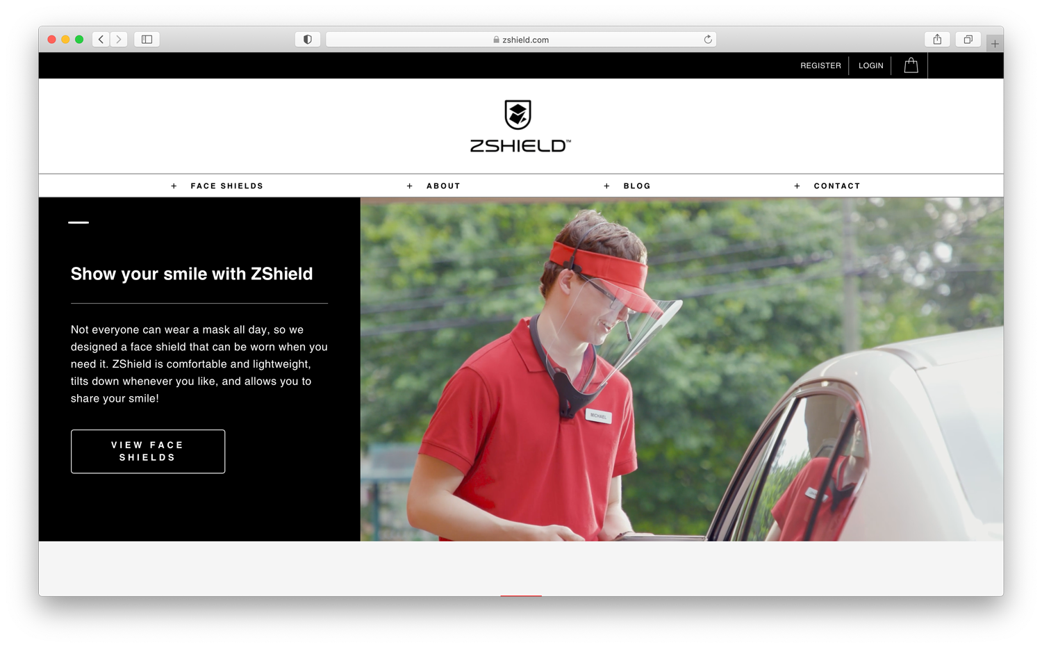 Screenshot of ZVerse's site's advertisement for ZShields with an image of a service worker by Gregory Miller