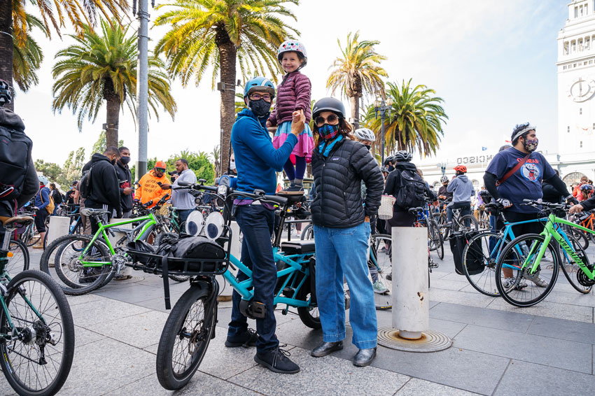 Ian Tuttle's photo for Critical Mass Bicycling of a family and their bikes