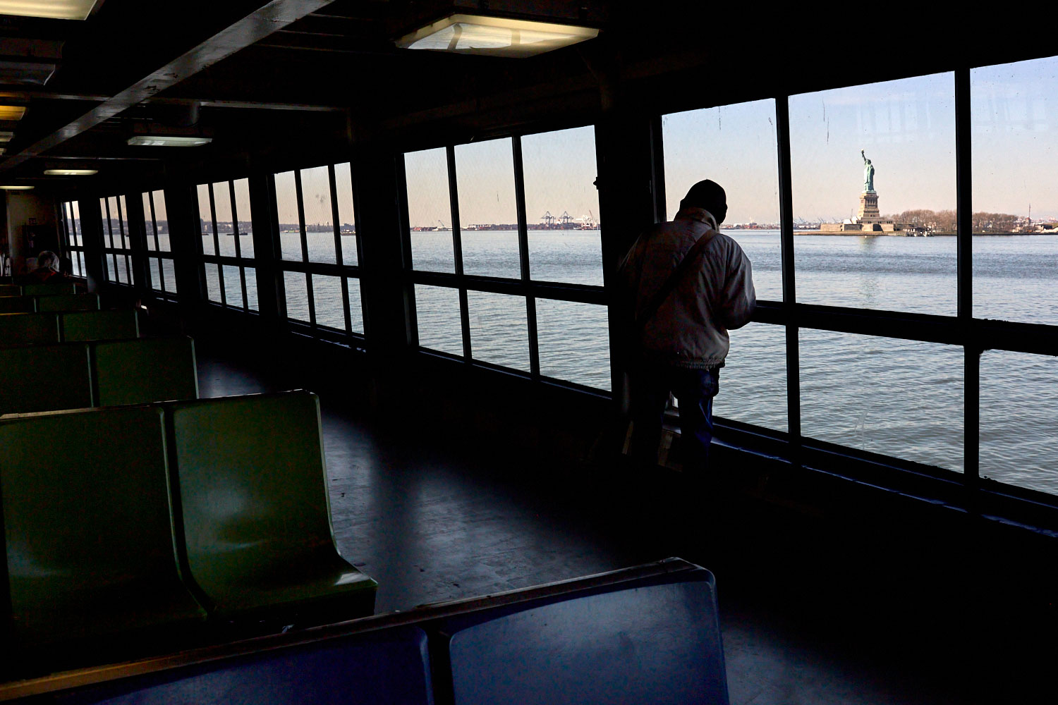 Interior image of the Staten Island ferry during the COVID pandemic by Stephen Speranza