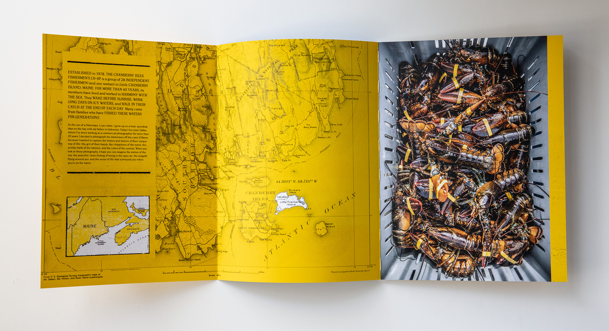 Tadd Myers released his booklet featuring the Lobstermen of Little Cranberry Island with a drawn map of the island and waters surrounding