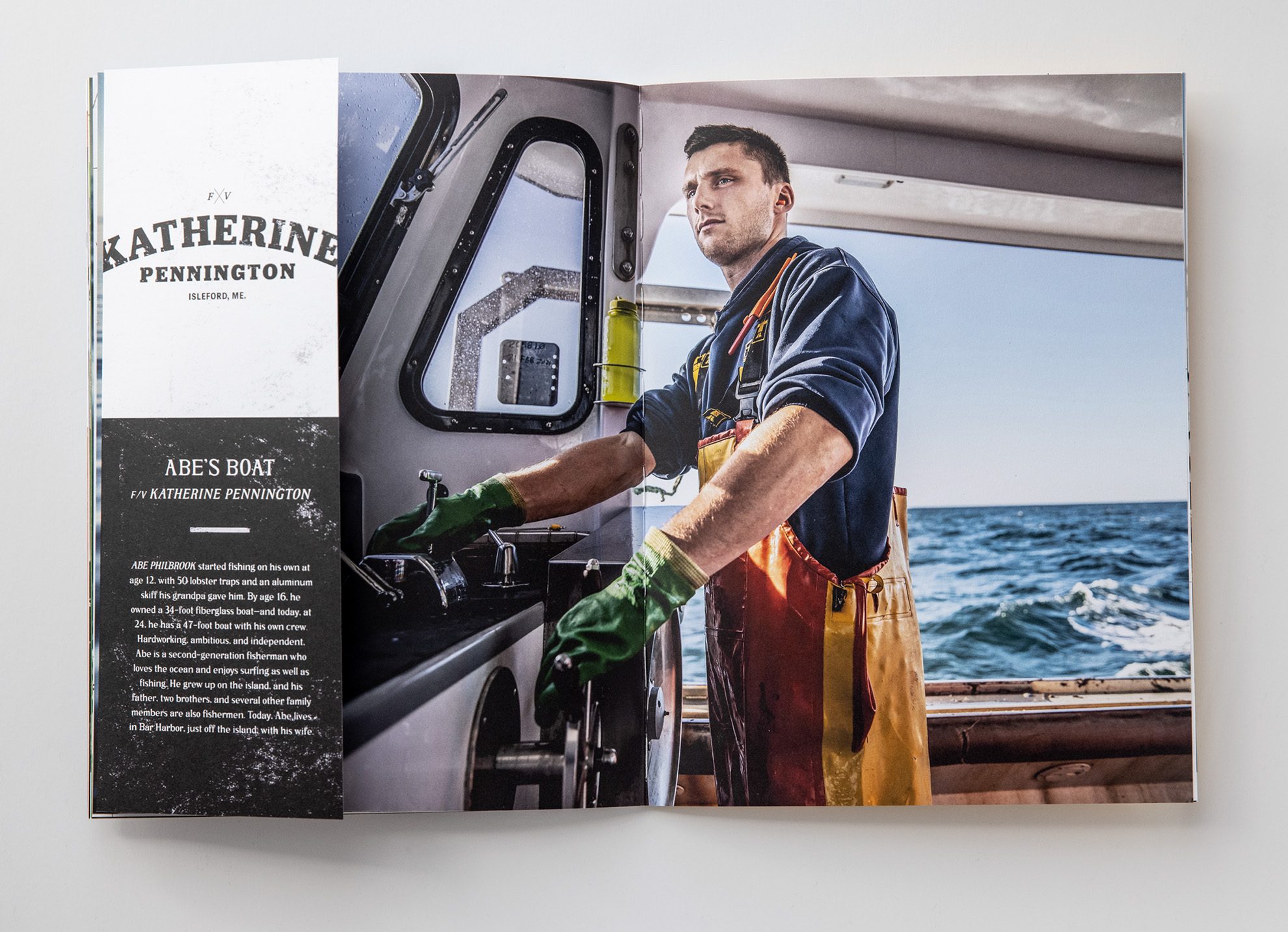 Tadd Myers promo booklet of the Lobstermen of Little Cranberry Island featuring Abes boat with him at the wheel