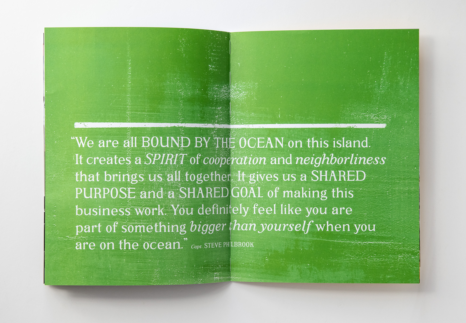 Tadd Myers promo booklet of the Lobstermen of Little Cranberry Island quote from captain Steve Philbrook