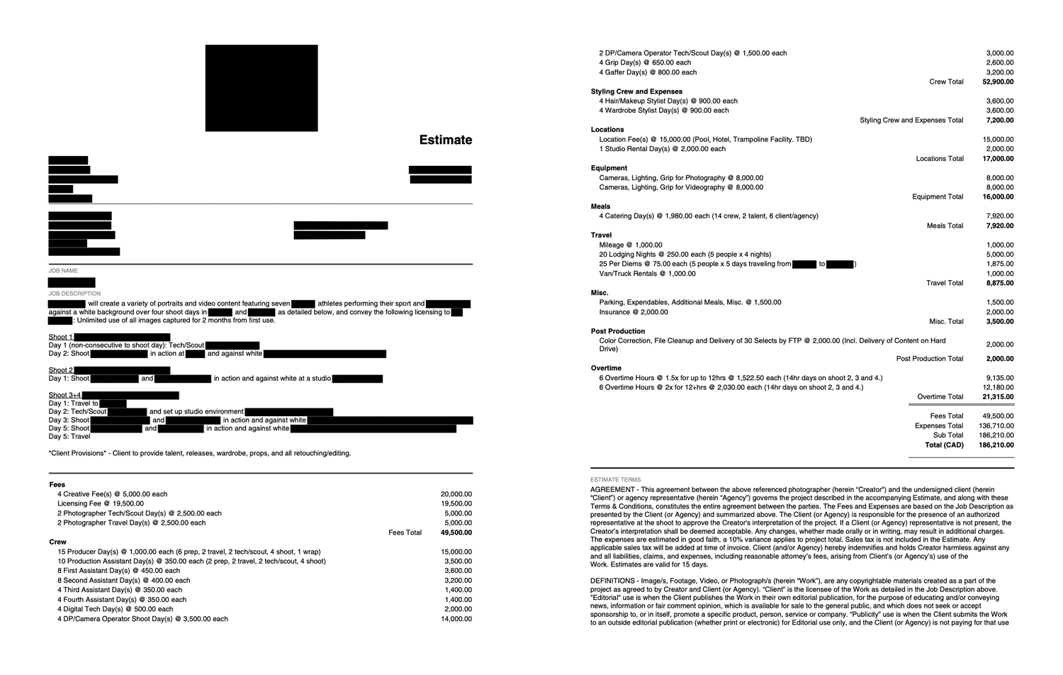 Redacted contract from a project cancelled by COVID-19