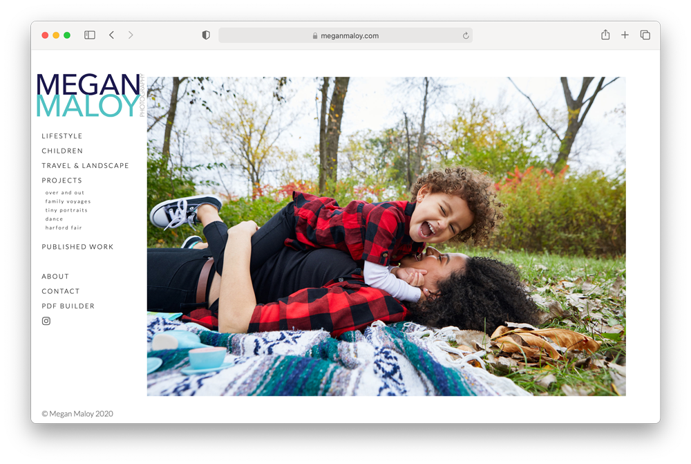 Screenshot of Megan Maloy's website after the web edit with producer Bryan Sheffield was completed